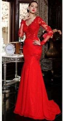 V-Neck Red Long Sleeve Beading Evening Dress Popular Chiffon Lace Sweep Train Prom Dress_5