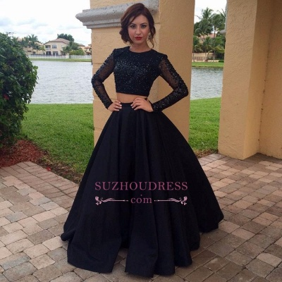 Long Sleeves Beaded Two Pieces Evening Dress Black A-Line  Prom Dress BA4617_1