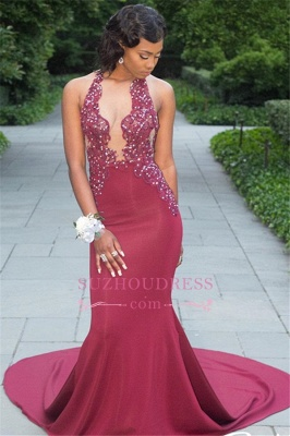 Mermaid Sleeveless Newest Beaded Appliques Prom Dress_2