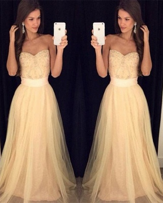 Elegant Crystal Sweetheart Evening Gown A-Line Custom Made Beading Prom Dress_1