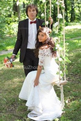 Mermaid Lace Off-the-shoulder Bridal Dress Half Sleeves  Wedding Dress_2
