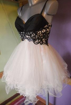Mini Organza Black and White Homecoming Dress V-neck Sweet Multi-Layered Evening Dresses_2