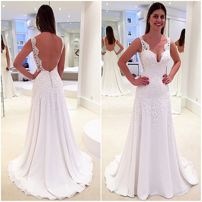 New Arrival Lace Open Back Bridal Gowns Sleeveless Sweep Train  Wedding Dresses_3