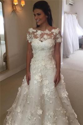 Short Sleeves A-line Flowers Wedding Dresses  Appliques Princess Bride Dress_4