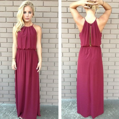 A-Line Halter Burgundy Chiffon Prom Dress New Arrival  Long Evening Gowns_2