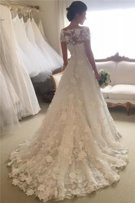 Short Sleeves A-line Flowers Wedding Dresses  Appliques Princess Bride Dress_3