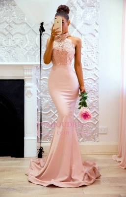 Elegant Mermaid Pink High Neck Prom Dresses  Open Back Lace Evening Gowns CD0038_1