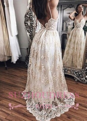 Backless Floor-Length open Back Straps prom Dress    Newest Lace Evening Dress_3