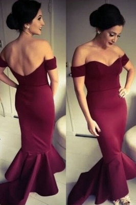 Off-the-shoulder Sheath Burgundy Evening Dress Open Back Sweetheart Maroon Prom Dress_1