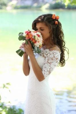 Mermaid Lace Off-the-shoulder Bridal Dress Half Sleeves  Wedding Dress_3