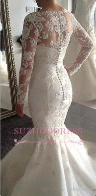 Gorgeous Mermaid Long Sleeve Lace Wedding Dresses  Sheer Buttons Back Tulle Bottom Bridal Gowns_3