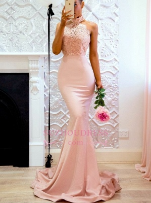 Elegant Mermaid Pink High Neck Prom Dresses  Open Back Lace Evening Gowns CD0038_4