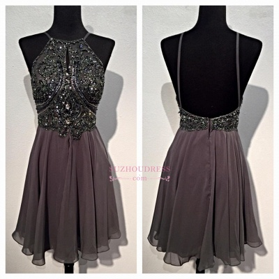 Sequins Backless Spaghetti-Straps Beaded Sparkly Mini Chiffon Homecoming Dresses BA3771_1