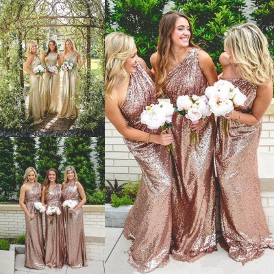 One Shoulder Shiny Sequins  Bridesmaid Dresses  Long Dress for Maid of Honor_3