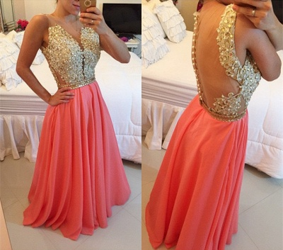 New Arrival A-Line Chiffon Prom Dress with Beadings Lace Floor Length Evening Dresses BMT031_3