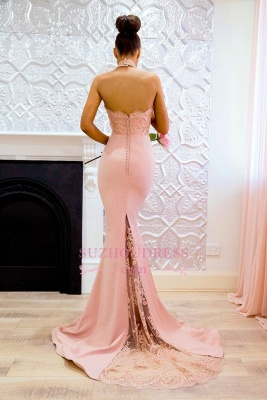 Elegant Mermaid Pink High Neck Prom Dresses  Open Back Lace Evening Gowns CD0038_3