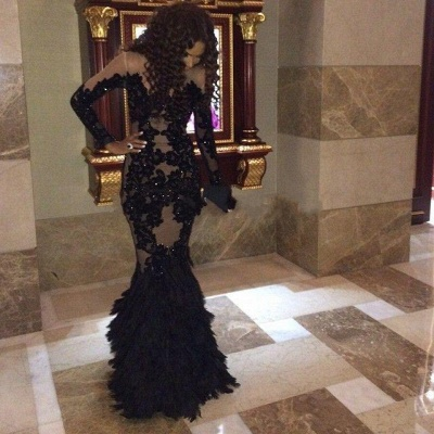 Black Long Sleeve Lace Party Dresses Sexy Mermaid Floor Length Evening Gowns_3