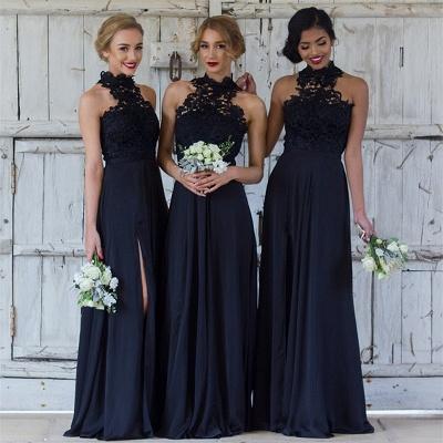 Halter Lace Chiffon Bridesmaid Dress with Split Sleeveless  Sexy Maid of Honor Dresses BA7430_4