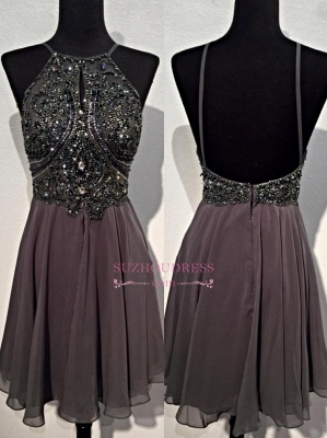 Sequins Backless Spaghetti-Straps Beaded Sparkly Mini Chiffon Homecoming Dresses BA3771_2