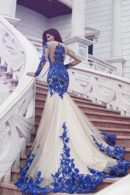 Long Sleeve Royal Blue Lace Evening Dresses Mermaid Tulle Prom Gowns  BA3610_1