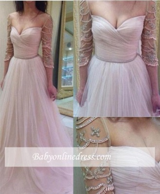 A-Line Sleeves Tulle Ruffles Delicate Sweetheart Beadings Prom Dresses_2