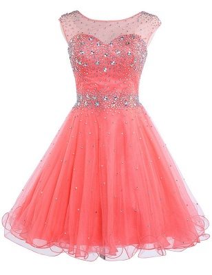 Latest Pink Beadings Mini Homecoming Dress Popular Custom Made Zipper Short Cocktail Dresses_1