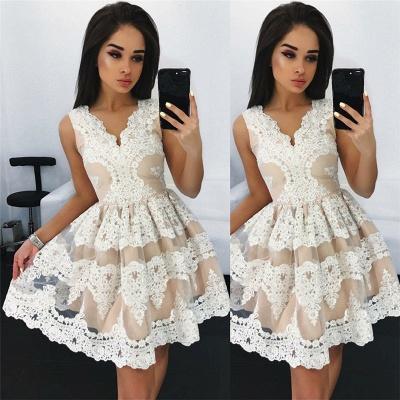 Sleeveless V-neck Lace Mini Homecoming Dresses | Light Champagne  Short Hoco Dress_3