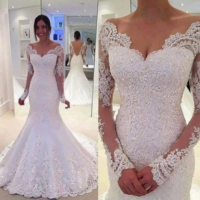 Elegant Off-the-Shoulder Long Sleeves Bridal Gowns Lace Mermaid Wedding Dresses  BA3742_1
