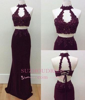 Keyhole High Neck Formal Dress   Lace-Up Sheath Lace Beading Two Piece Prom Dresses BA6962_1