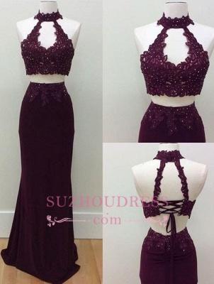 Keyhole High Neck Formal Dress   Lace-Up Sheath Lace Beading Two Piece Prom Dresses BA6962_2