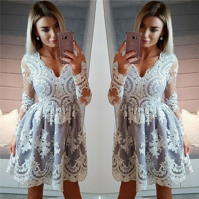 Long Sleeve See Through Lace  Homecoming Dresses   V-neck Sexy Mini Hoco Dresses_3