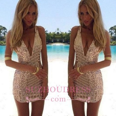 Sleeveless Short Sequins Sexy V-Neck Homecoming Dress_1