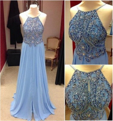 Baby Blue Prom Dresses  Straps Backless Lovely Evening Dress with Beads_3