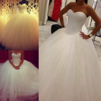 Lovely Sweetheart Tulle Wedding Ball Gowns Beads Princess Bridal Dresses with Petticoat_3