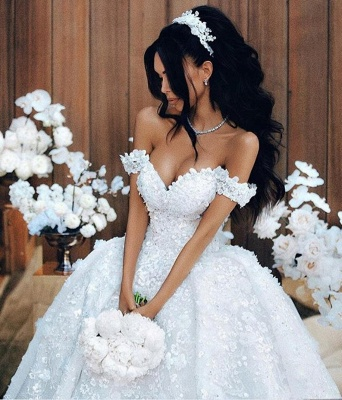 Off The Shoulder Appliques Luxury Wedding Dresses Princess Ball Gown Sexy Bride Dress_1
