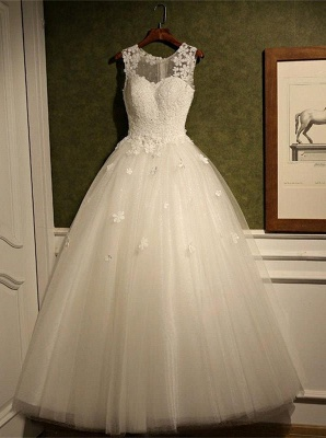 New Arrival Tulle Lace  A-Line Wedding Dress Natural Sleeveless Floor Length Bridal Dresses_1