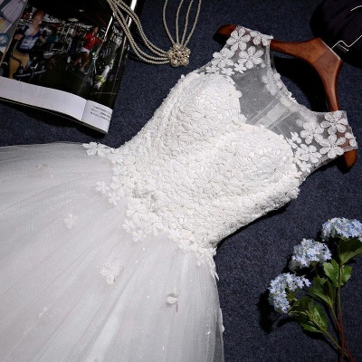 New Arrival Tulle Lace  A-Line Wedding Dress Natural Sleeveless Floor Length Bridal Dresses_5