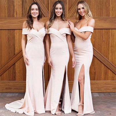 Pale Pink Sexy  Bridesmaid Dresses    Off The Shoulder Side Slit Formal Evening Dress_3