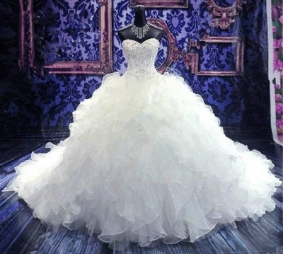 Crystal Sweetheart Ball Gown Princess Dress Latest Beadings Organza Wedding Dress_4
