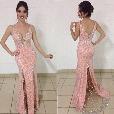 Crystal Plunging Neck Mermaid Prom Dress Pink Beading Zipper Evening Dresses_1