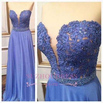 Lace Sweetheart Crystal A-Line  Floor-Length Prom Dresses_1