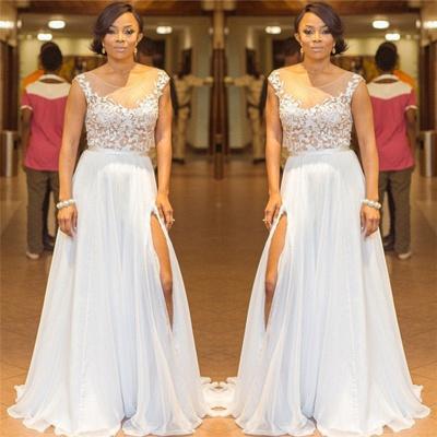 Elegant A-Line Chiffon Jewel Lace Ruffles Prom Dress Sleeveless Appliques Side Slit Formal Dresses On Sale_3