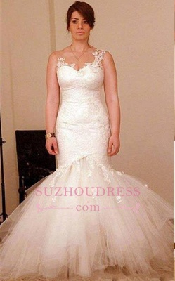 Classic Mermaid lace Appliques Wedding Dresses  Sheer Back Bridal Gowns_1