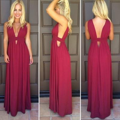Sexy Deep V-Neck Red Long Evening Dress Simple  Summer Beach Dresses_2