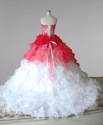Red and White Quincenera Dresses Lace Sweet 16 Stage Decoration for Pageant Dress_3