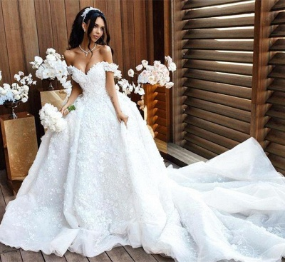 Off The Shoulder Appliques Luxury Wedding Dresses Princess Ball Gown Sexy Bride Dress_5