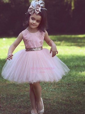 Flower Scoop Pink Tulle Lace-Applique Flower Girls Dresses_3