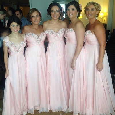 Sweetheart Pink Bridesmaid Dresses Beads Flowers Appliques Chiffon  Maid of Honor Dress_3