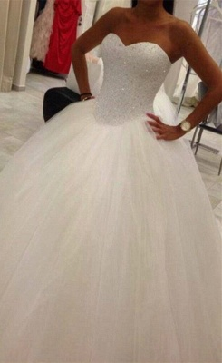 Lovely Sweetheart Tulle Wedding Ball Gowns Beads Princess Bridal Dresses with Petticoat_1