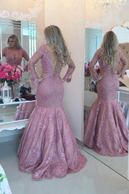 Long Sleeve Sexy Mermaid Evening Dress with Beadings Floor Length Plus Size Formal Bridal Gown_2